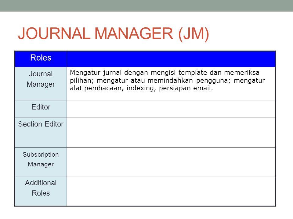 JOURNAL MANAGER (JM) Roles Journal Manager Mengatur jurnal dengan mengisi template dan memeriksa pilihan; mengatur atau memindahkan pengguna; mengatur alat pembacaan, indexing, persiapan email.