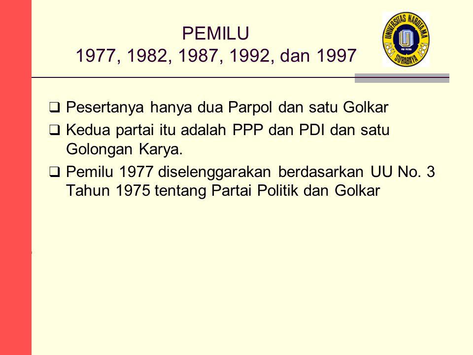 PEMILU 1977, 1982, 1987, 1992, dan 1997  Pesertanya hanya dua Parpol dan satu Golkar  Kedua partai itu adalah PPP dan PDI dan satu Golongan Karya. 