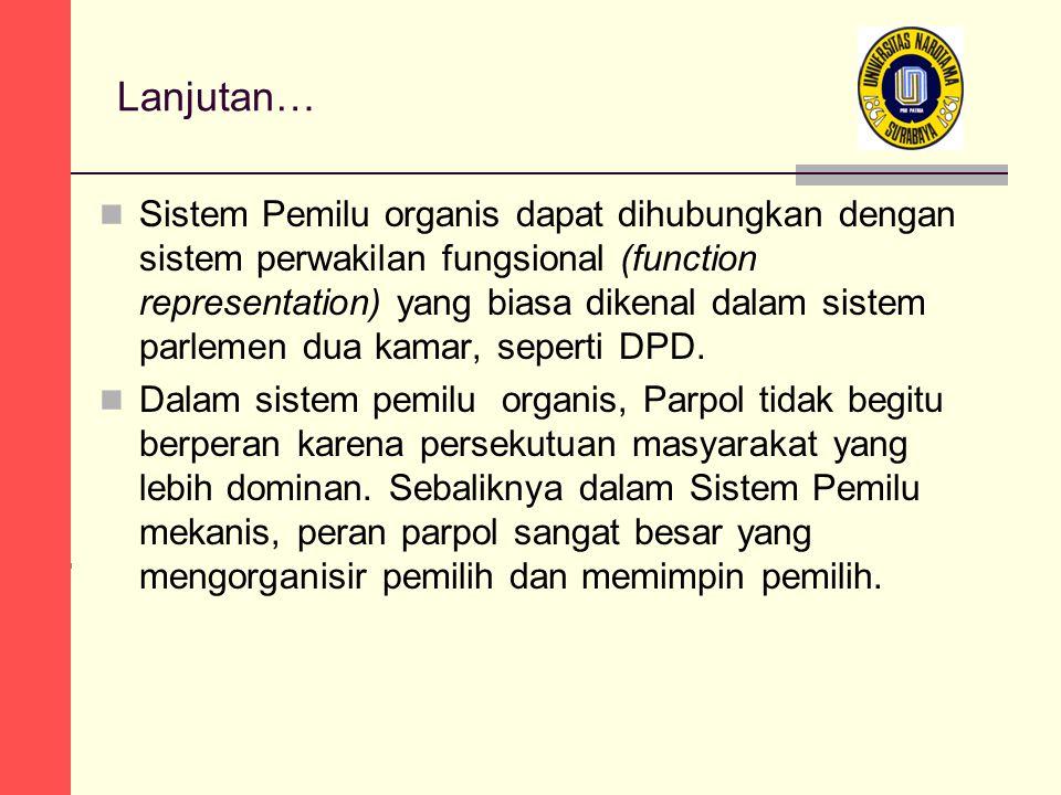 Lanjutan… Sistem Pemilu organis dapat dihubungkan dengan sistem perwakilan fungsional (function representation) yang biasa dikenal dalam sistem parlemen dua kamar, seperti DPD.