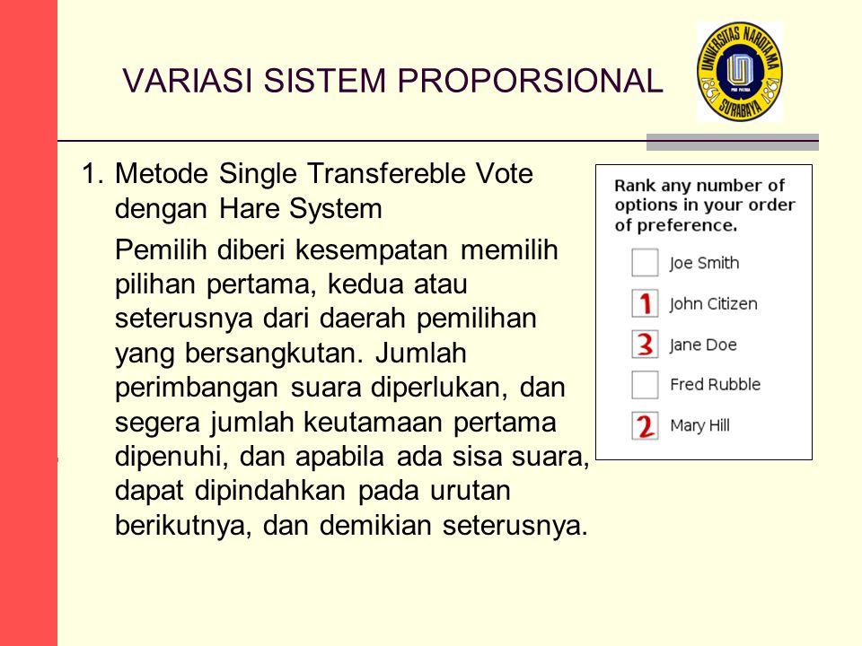 VARIASI SISTEM PROPORSIONAL 1.Metode Single Transfereble Vote dengan Hare System Pemilih diberi kesempatan memilih pilihan pertama, kedua atau seterus