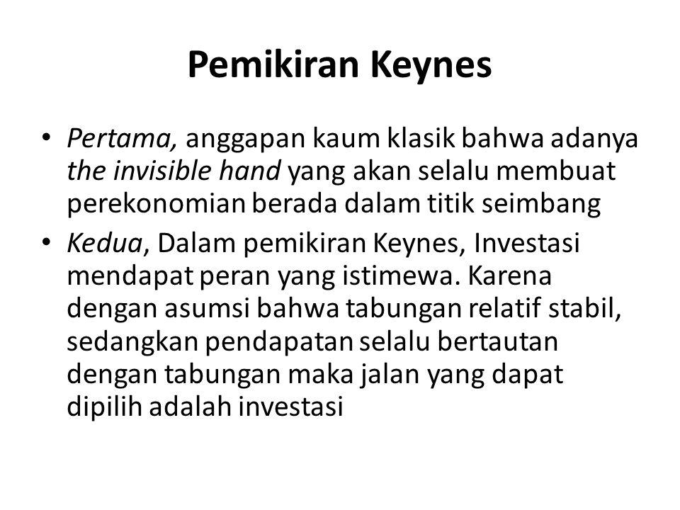 ketiga, dengan melihat pemikiran Keynes bahwa pemerintah harus campur tangan, di sini kita bisa melihat bahwa pemikiran Keynes adalah sebuah sintesis yang apik antara Smith- Ricardo dan Marx.
