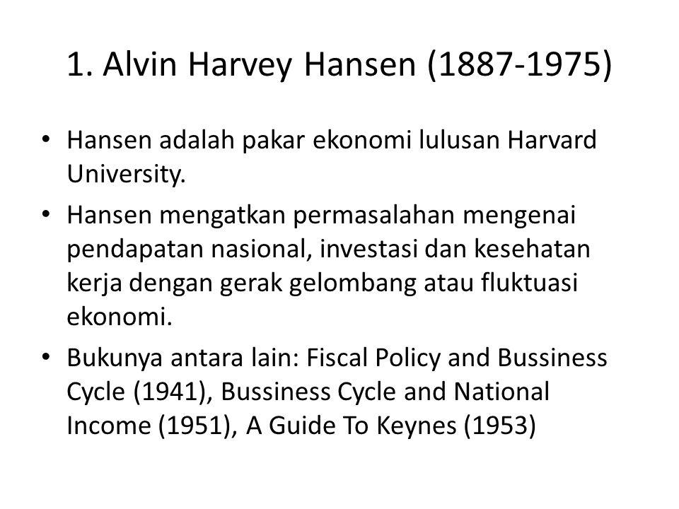 1. Alvin Harvey Hansen (1887-1975) Hansen adalah pakar ekonomi lulusan Harvard University. Hansen mengatkan permasalahan mengenai pendapatan nasional,