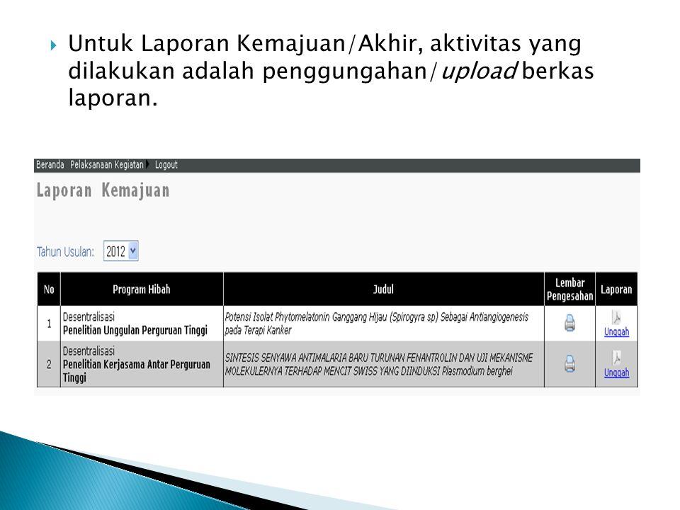  Untuk Laporan Kemajuan/Akhir, aktivitas yang dilakukan adalah penggungahan/upload berkas laporan.