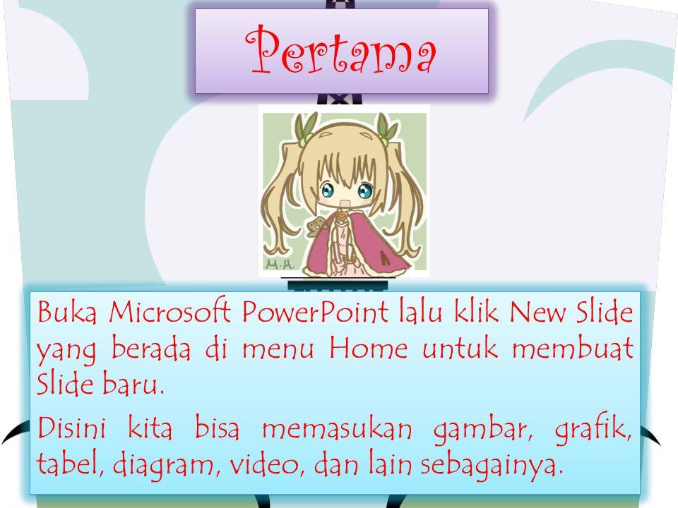 Pertama Pertama Buka Microsoft PowerPoint lalu klik New Slide yang berada di menu Home untuk membuat Slide baru. Disini kita bisa memasukan gambar, gr