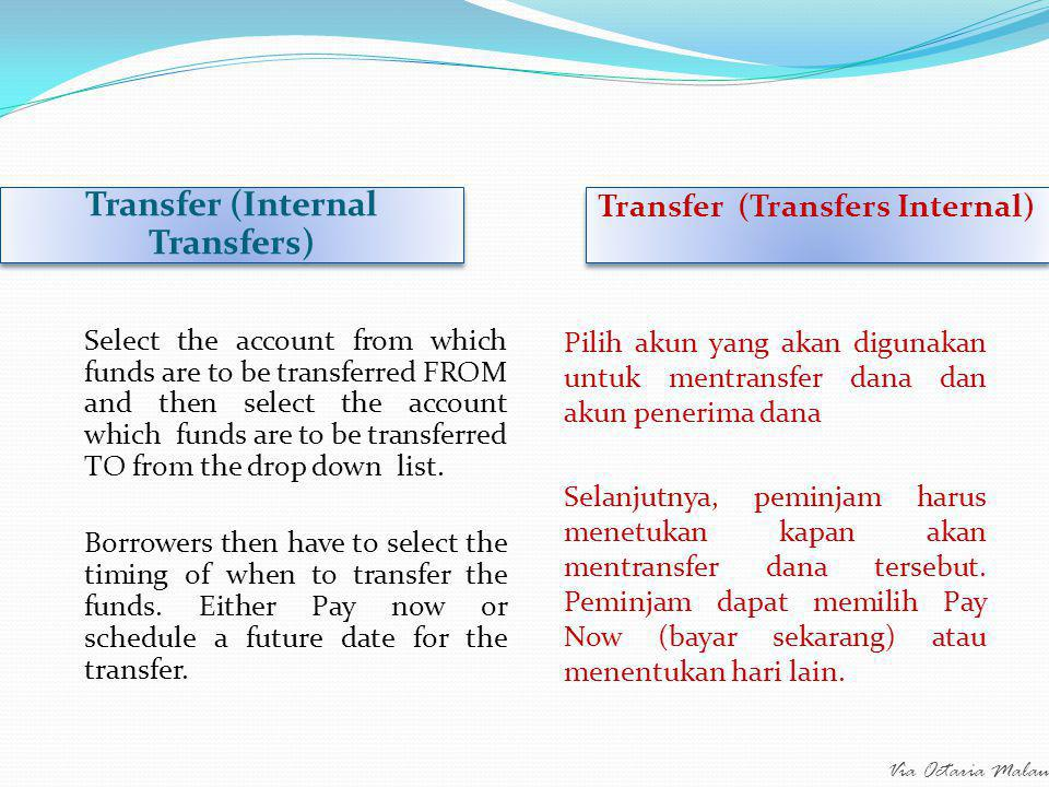 Via Octaria Malau Transfer (External Transfers) Transfer (Transfers Eksternal) This is the same steps as for internal transfer, except the payee selected can be to an external account.