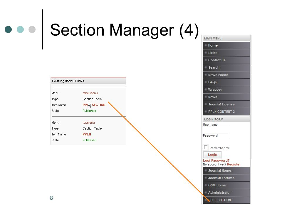 9 Section Manager (5) Untuk membuang section Klik nama menunya Chek nama menu dan klik tombol trash