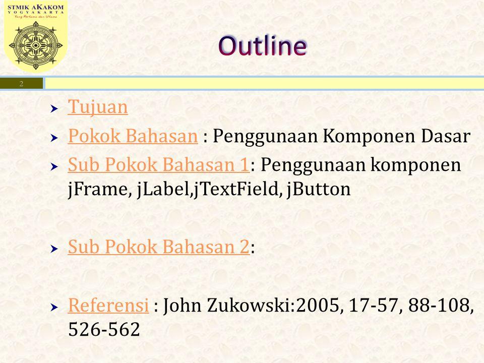  Tujuan Tujuan  Pokok Bahasan : Penggunaan Komponen Dasar Pokok Bahasan  Sub Pokok Bahasan 1: Penggunaan komponen jFrame, jLabel,jTextField, jButton Sub Pokok Bahasan 1  Sub Pokok Bahasan 2: Sub Pokok Bahasan 2  Referensi : John Zukowski:2005, 17-57, 88-108, 526-562 Referensi 2