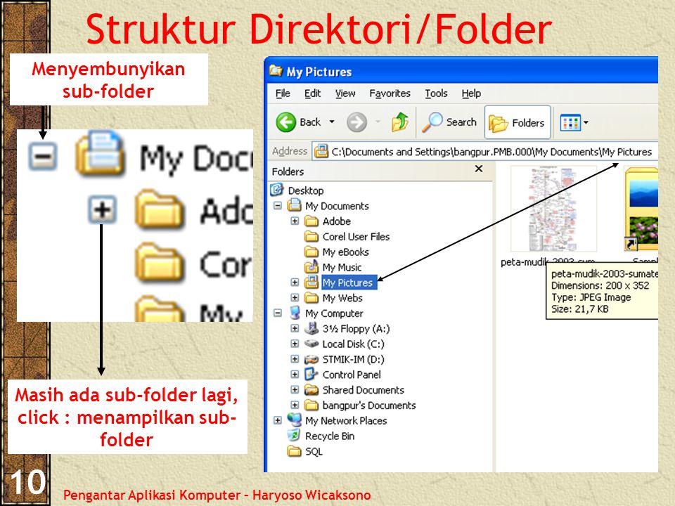 Pengantar Aplikasi Komputer – Haryoso Wicaksono 10 Struktur Direktori/Folder Masih ada sub-folder lagi, click : menampilkan sub- folder Menyembunyikan sub-folder