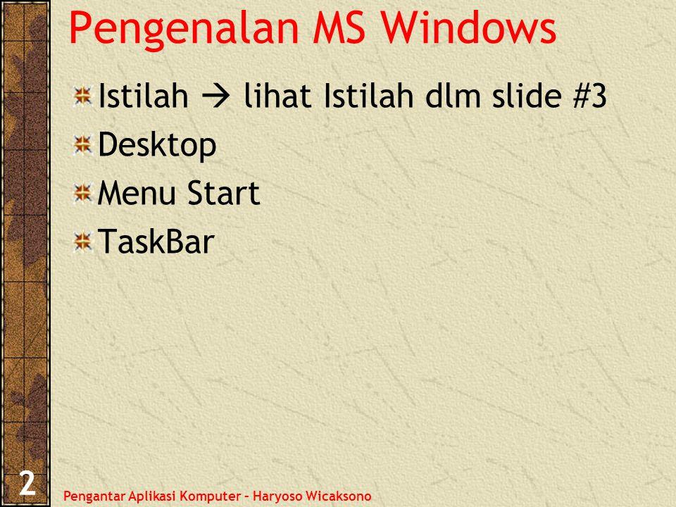 Pengantar Aplikasi Komputer – Haryoso Wicaksono 2 Pengenalan MS Windows Istilah  lihat Istilah dlm slide #3 Desktop Menu Start TaskBar