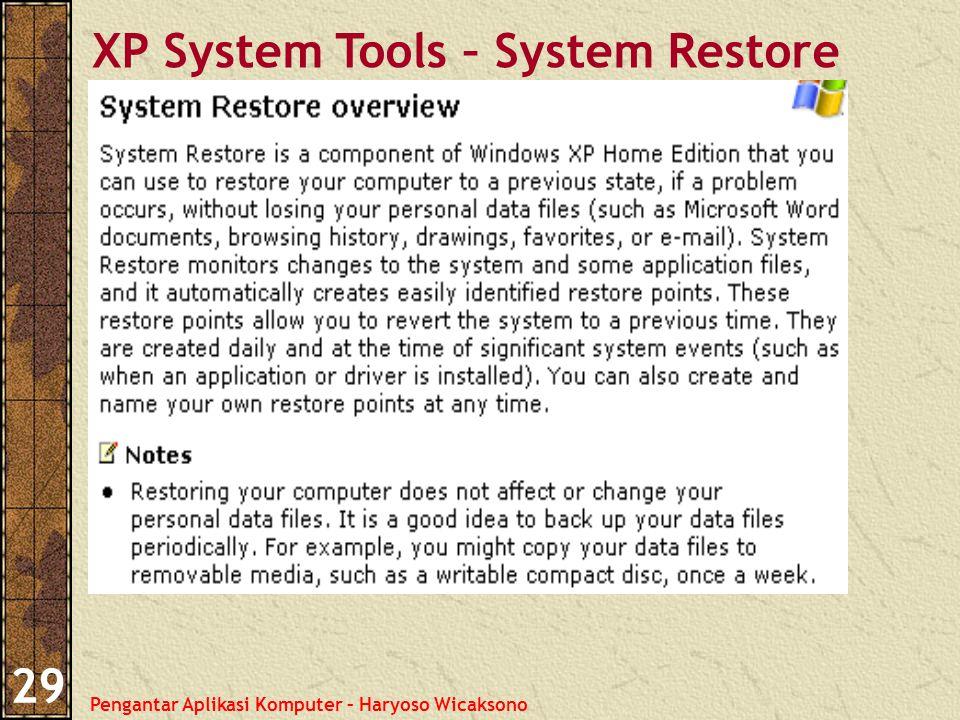 Pengantar Aplikasi Komputer – Haryoso Wicaksono 29 XP System Tools – System Restore