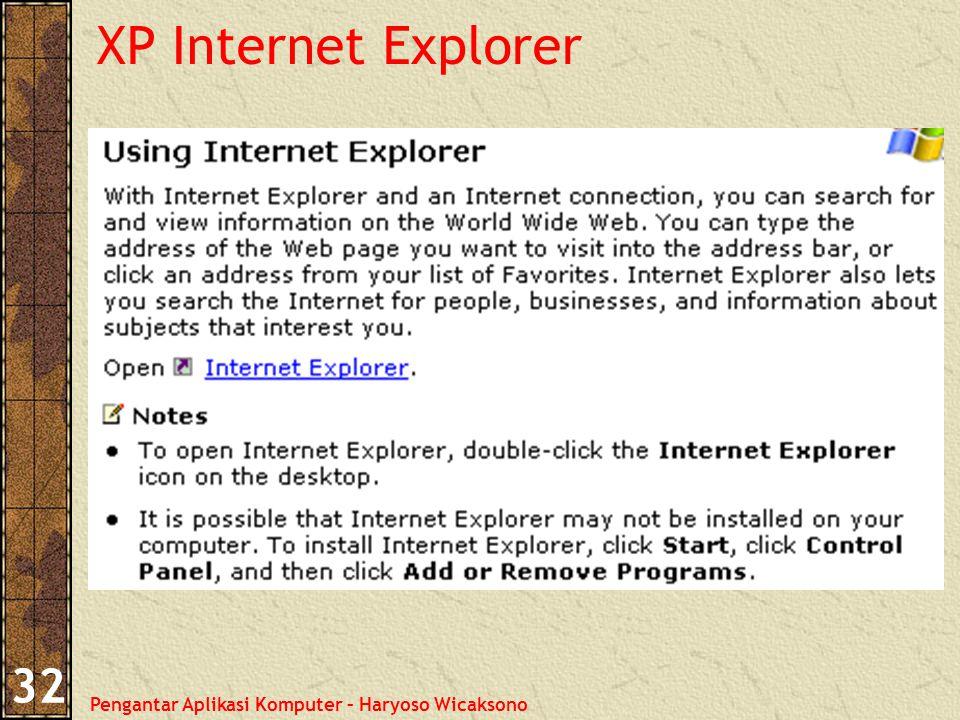Pengantar Aplikasi Komputer – Haryoso Wicaksono 32 XP Internet Explorer