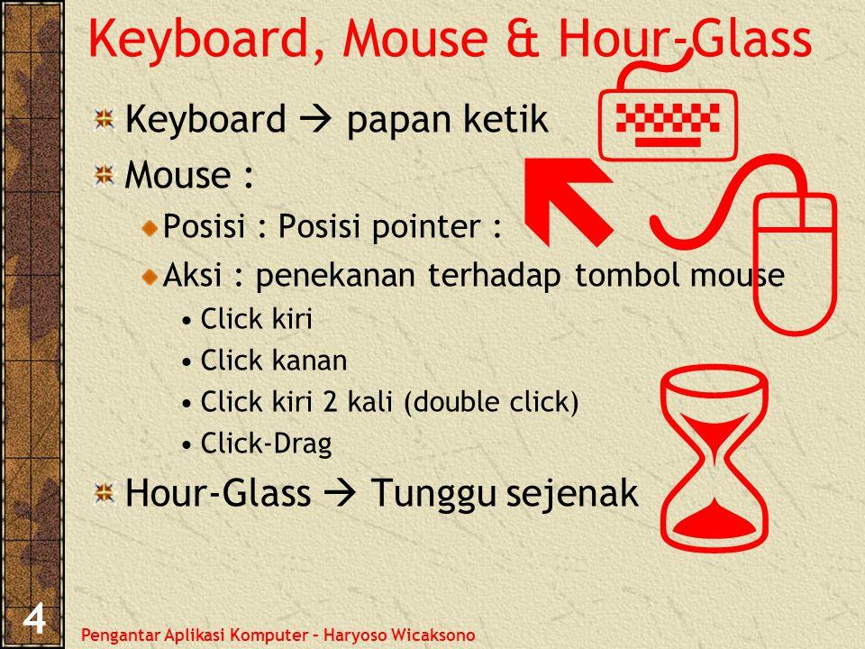 Pengantar Aplikasi Komputer – Haryoso Wicaksono 4 Keyboard, Mouse & Hour-Glass Keyboard  papan ketik Mouse : Posisi : Posisi pointer : Aksi : penekanan terhadap tombol mouse Click kiri Click kanan Click kiri 2 kali (double click) Click-Drag Hour-Glass  Tunggu sejenak    