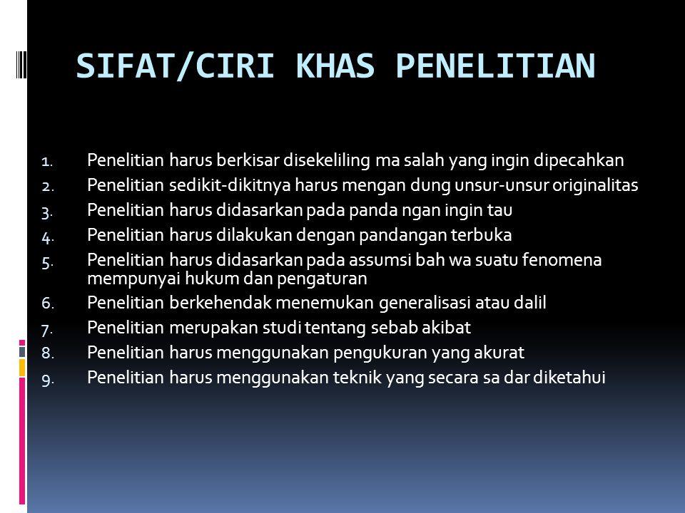 SIFAT/CIRI KHAS PENELITIAN 1.