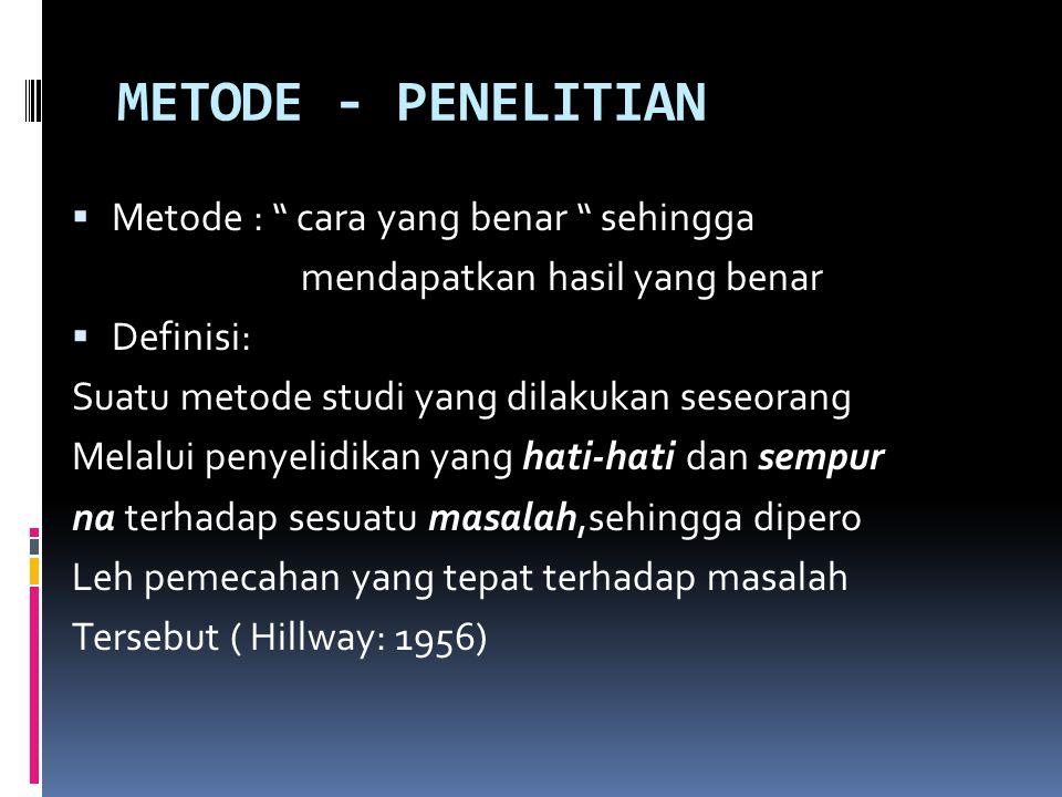 METODE - PENELITIAN  Metode : cara yang benar sehingga mendapatkan hasil yang benar  Definisi: Suatu metode studi yang dilakukan seseorang Melalui penyelidikan yang hati-hati dan sempur na terhadap sesuatu masalah,sehingga dipero Leh pemecahan yang tepat terhadap masalah Tersebut ( Hillway: 1956)