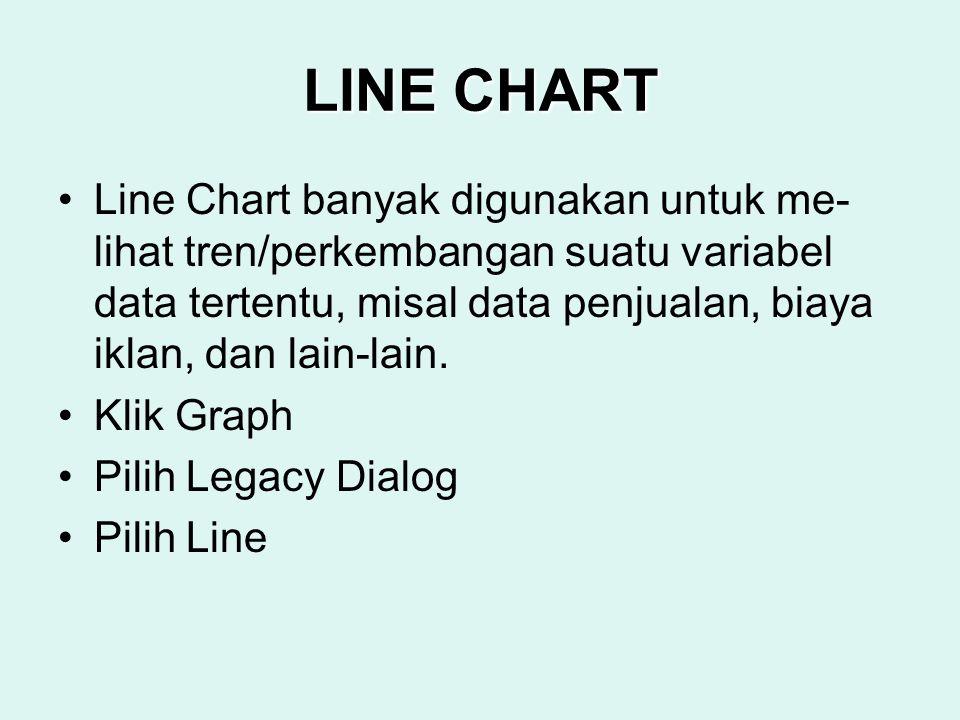 LINE CHART Line Chart banyak digunakan untuk me- lihat tren/perkembangan suatu variabel data tertentu, misal data penjualan, biaya iklan, dan lain-lai