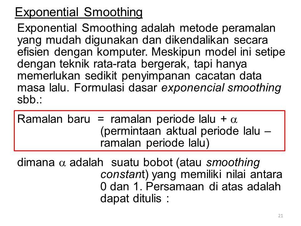 Exponential Smoothing adalah metode peramalan yang mudah digunakan dan dikendalikan secara efisien dengan komputer.