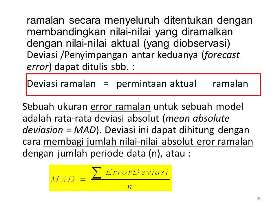 30 ramalan secara menyeluruh ditentukan dengan membandingkan nilai-nilai yang diramalkan dengan nilai-nilai aktual (yang diobservasi) Deviasi /Penyimp