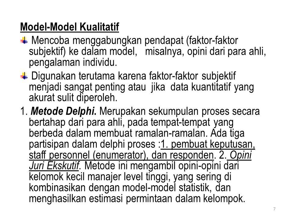 Model-Model Kualitatif Mencoba menggabungkan pendapat (faktor-faktor subjektif) ke dalam model, misalnya, opini dari para ahli, pengalaman individu. D