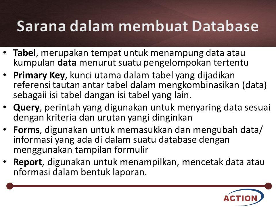 ACTION Tabel, merupakan tempat untuk menampung data atau kumpulan data menurut suatu pengelompokan tertentu Primary Key, kunci utama dalam tabel yang dijadikan referensi tautan antar tabel dalam mengkombinasikan (data) sebagaii isi tabel dangan isi tabel yang lain.