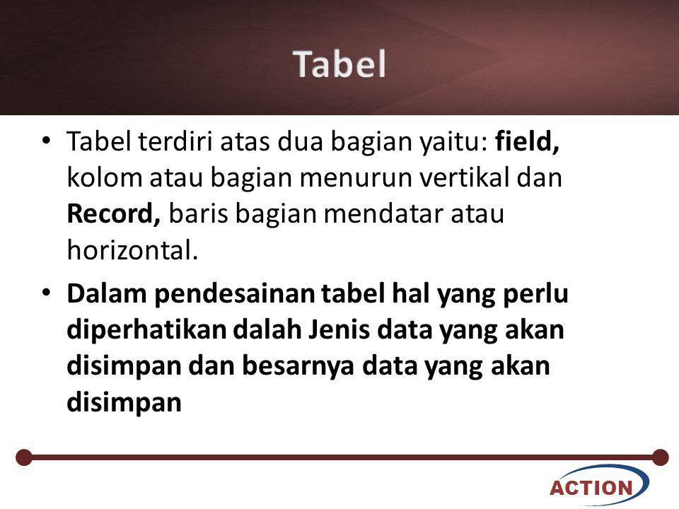 ACTION Tabel terdiri atas dua bagian yaitu: field, kolom atau bagian menurun vertikal dan Record, baris bagian mendatar atau horizontal. Dalam pendesa