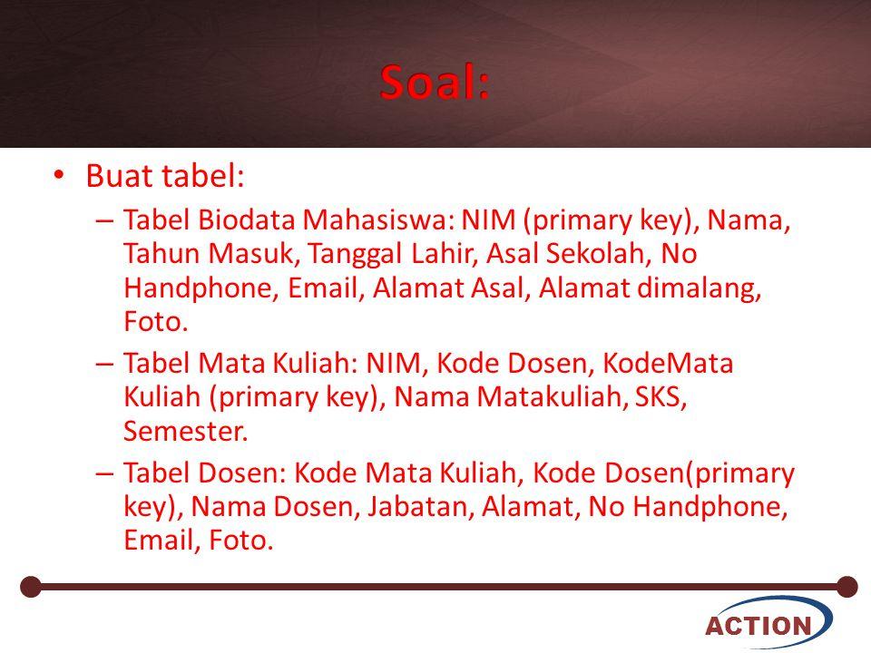 ACTION Buat tabel: – Tabel Biodata Mahasiswa: NIM (primary key), Nama, Tahun Masuk, Tanggal Lahir, Asal Sekolah, No Handphone, Email, Alamat Asal, Ala
