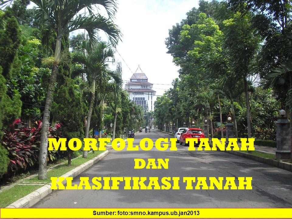 MORFOLOGI TANAH DAN KLASIFIKASI TANAH Sumber: foto:smno.kampus.ub.jan2013