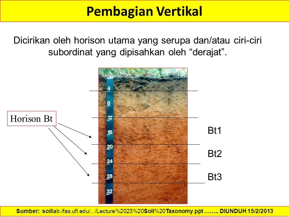 """Pembagian Vertikal Dicirikan oleh horison utama yang serupa dan/atau ciri-ciri subordinat yang dipisahkan oleh """"derajat"""". Bt1 Bt2 Bt3 Horison Bt Sumbe"""