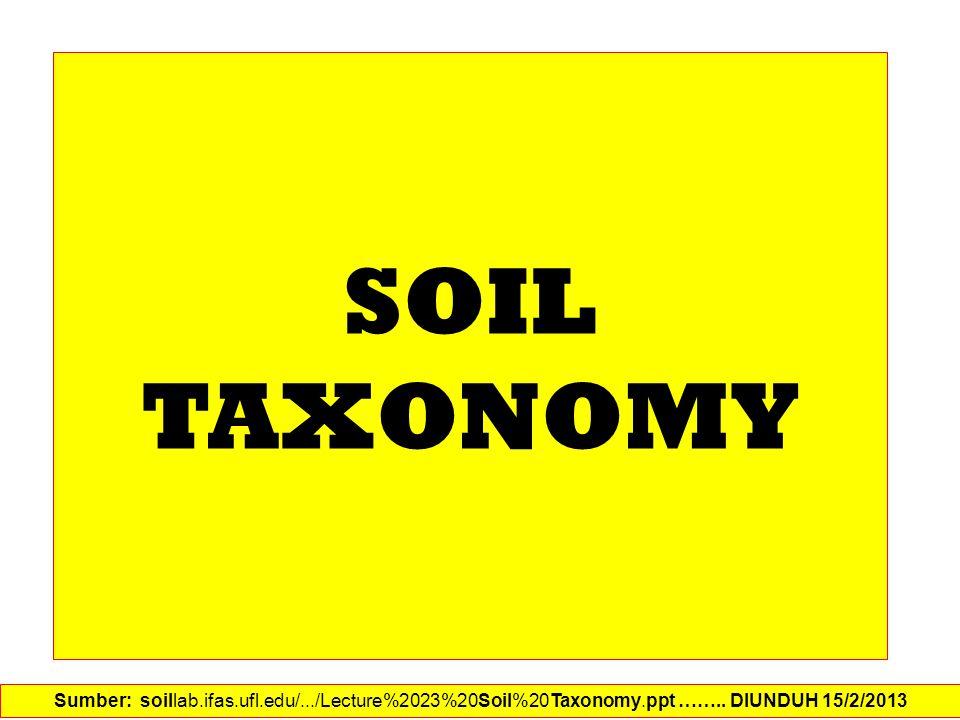 SOIL TAXONOMY Sumber: soillab.ifas.ufl.edu/.../Lecture%2023%20Soil%20Taxonomy.ppt …….. DIUNDUH 15/2/2013