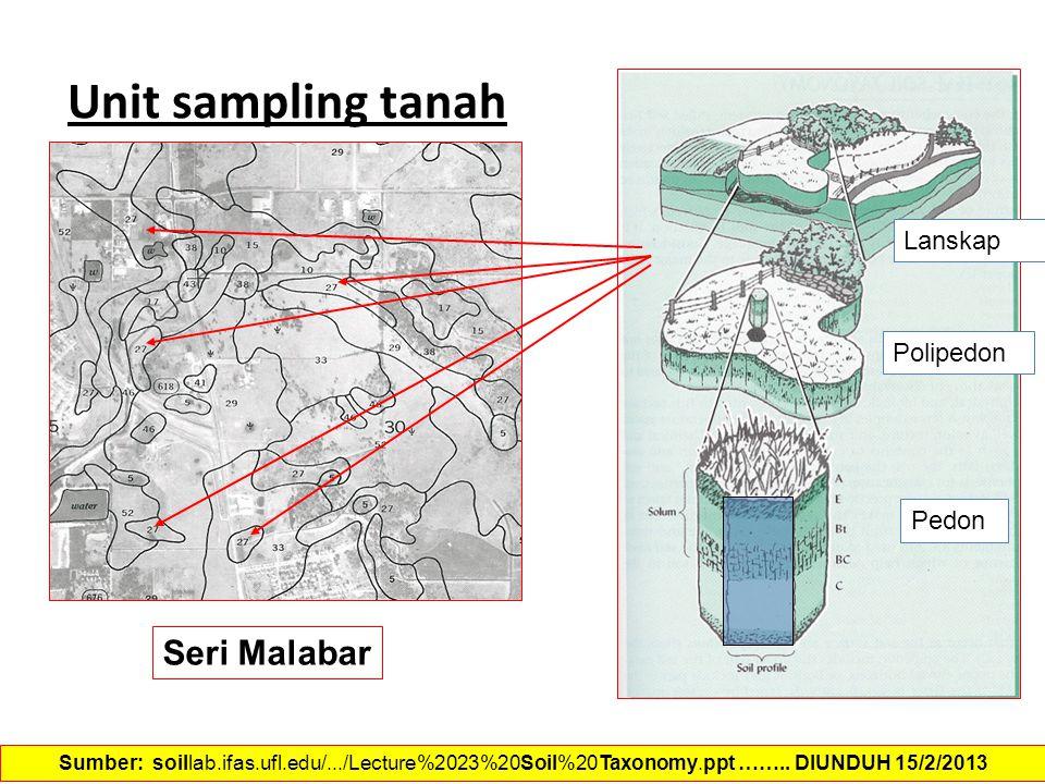Unit sampling tanah Seri Malabar Sumber: soillab.ifas.ufl.edu/.../Lecture%2023%20Soil%20Taxonomy.ppt …….. DIUNDUH 15/2/2013 Pedon Lanskap Polipedon