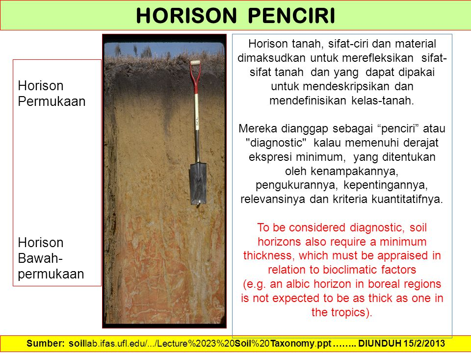 Horison Permukaan Horison Bawah- permukaan Sumber: soillab.ifas.ufl.edu/.../Lecture%2023%20Soil%20Taxonomy.ppt …….. DIUNDUH 15/2/2013 HORISON PENCIRI