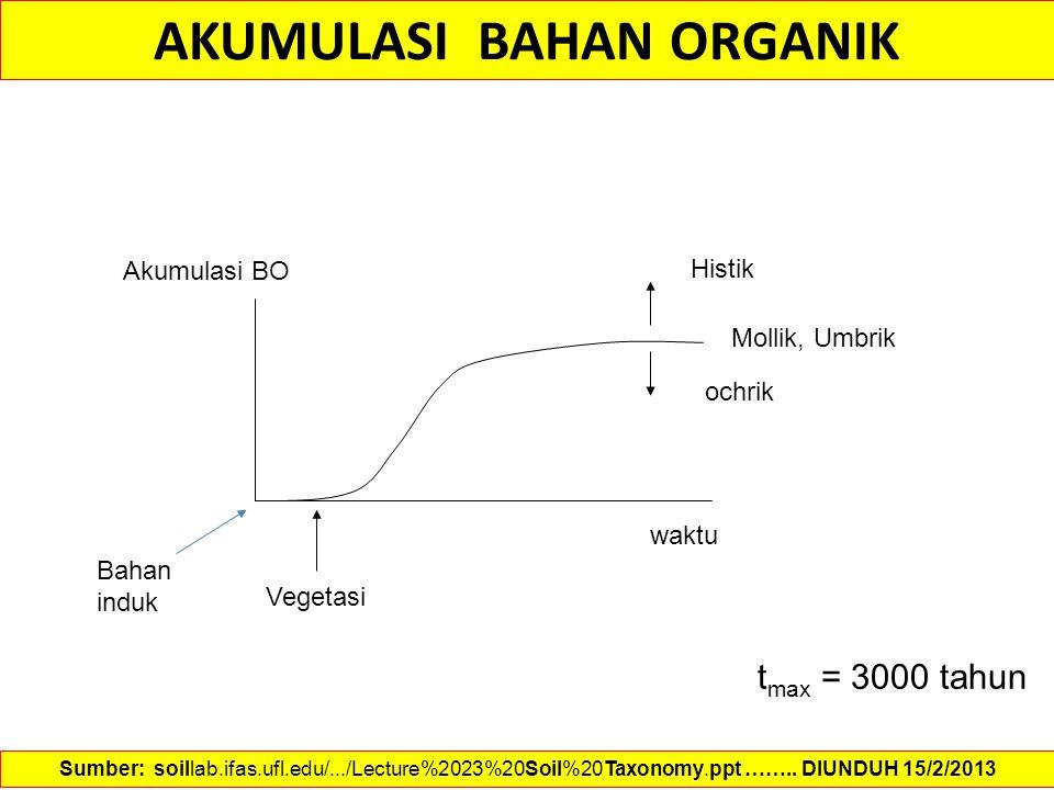 Vegetasi Akumulasi BO waktu AKUMULASI BAHAN ORGANIK Histik Mollik, Umbrik ochrik Bahan induk t max = 3000 tahun Sumber: soillab.ifas.ufl.edu/.../Lectu