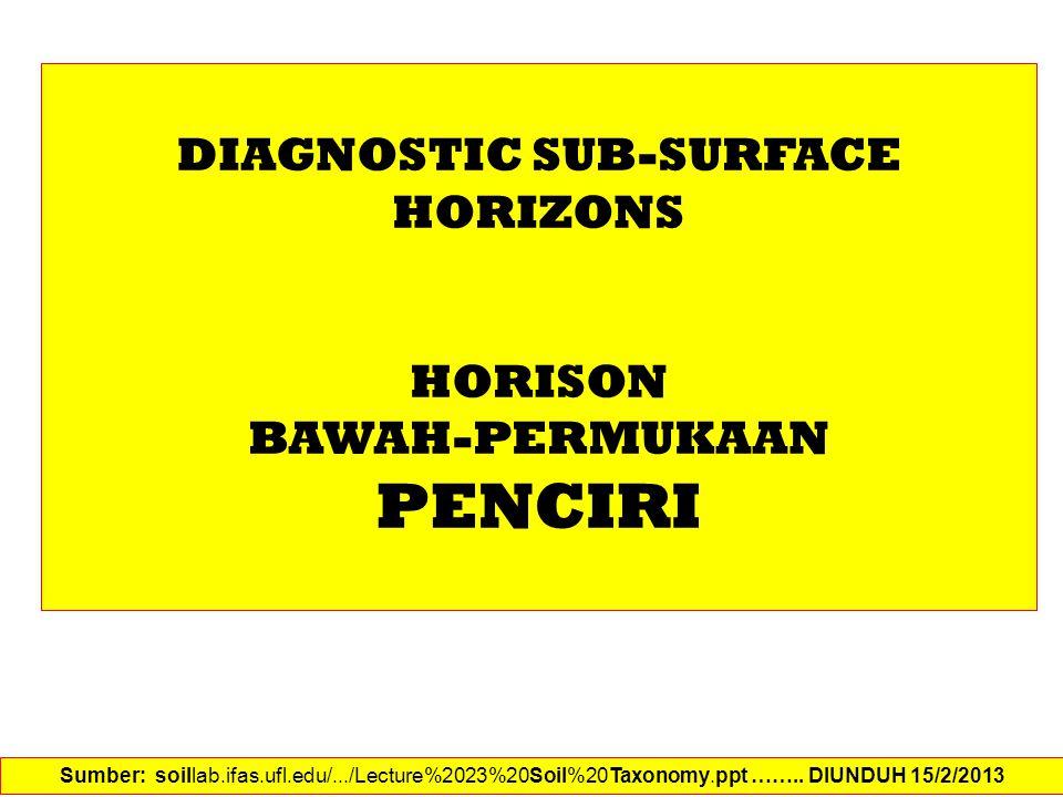 DIAGNOSTIC SUB-SURFACE HORIZONS HORISON BAWAH-PERMUKAAN PENCIRI Sumber: soillab.ifas.ufl.edu/.../Lecture%2023%20Soil%20Taxonomy.ppt …….. DIUNDUH 15/2/