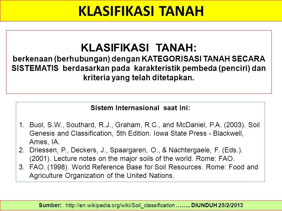 KLASIFIKASI TANAH Sumber:. http://en.wikipedia.org/wiki/Soil_classification …….. DIUNDUH 25/2/2013 KLASIFIKASI TANAH: berkenaan (berhubungan) dengan K