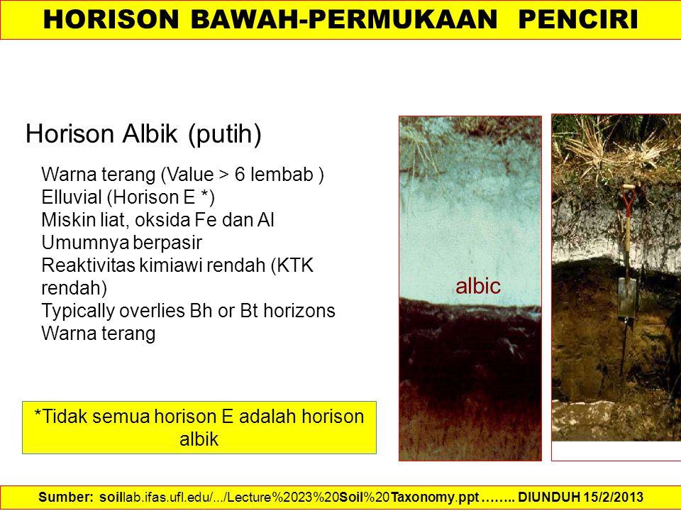 Horison Albik (putih) Warna terang (Value > 6 lembab ) Elluvial (Horison E *) Miskin liat, oksida Fe dan Al Umumnya berpasir Reaktivitas kimiawi renda