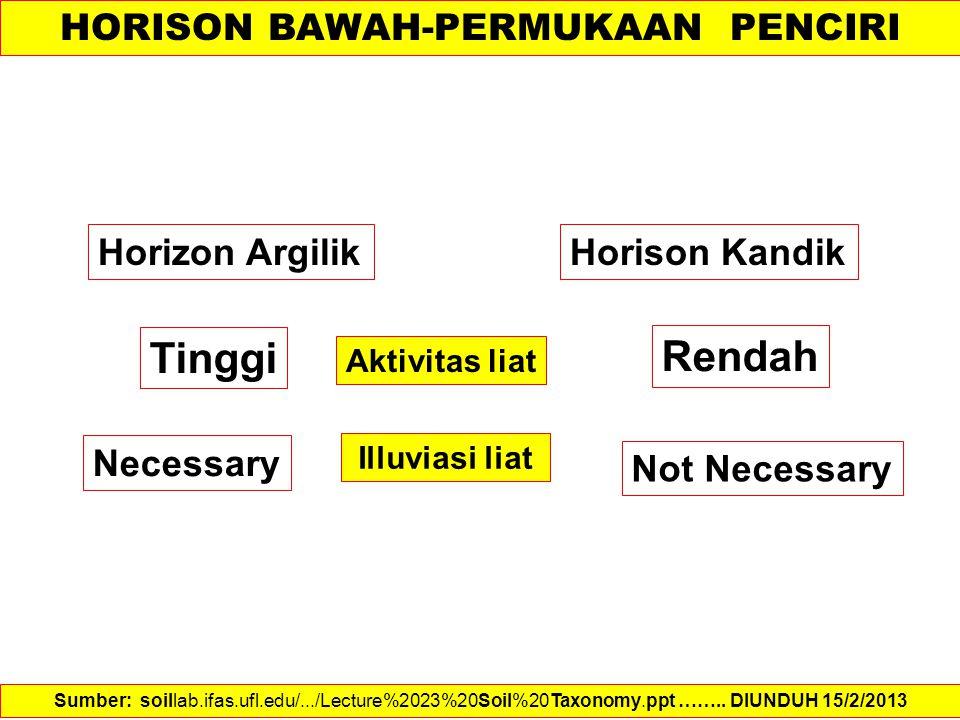 Horizon ArgilikHorison Kandik Aktivitas liat Tinggi Rendah Illuviasi liat Necessary Not Necessary Sumber: soillab.ifas.ufl.edu/.../Lecture%2023%20Soil