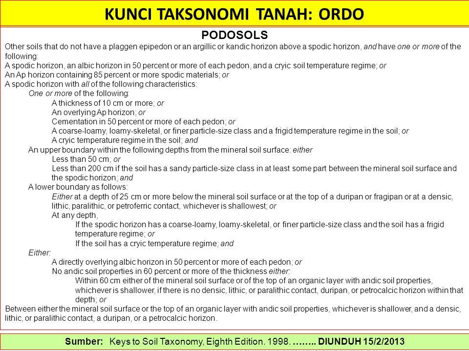 KUNCI TAKSONOMI TANAH: ORDO Sumber: Keys to Soil Taxonomy, Eighth Edition. 1998. …….. DIUNDUH 15/2/2013 PODOSOLS Other soils that do not have a plagge