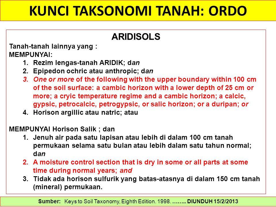 KUNCI TAKSONOMI TANAH: ORDO Sumber: Keys to Soil Taxonomy, Eighth Edition. 1998. …….. DIUNDUH 15/2/2013 ARIDISOLS Tanah-tanah lainnya yang : MEMPUNYAI
