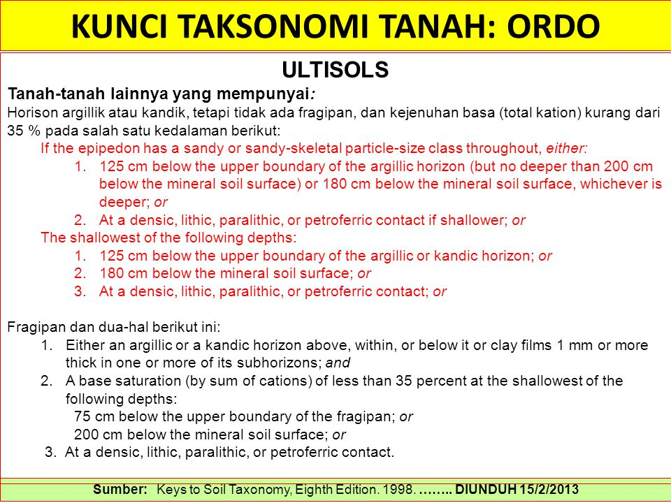 KUNCI TAKSONOMI TANAH: ORDO Sumber: Keys to Soil Taxonomy, Eighth Edition. 1998. …….. DIUNDUH 15/2/2013 ULTISOLS Tanah-tanah lainnya yang mempunyai: H