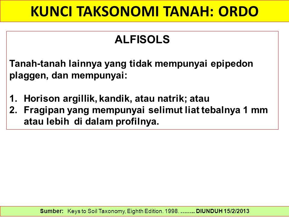 KUNCI TAKSONOMI TANAH: ORDO Sumber: Keys to Soil Taxonomy, Eighth Edition. 1998. …….. DIUNDUH 15/2/2013 ALFISOLS Tanah-tanah lainnya yang tidak mempun