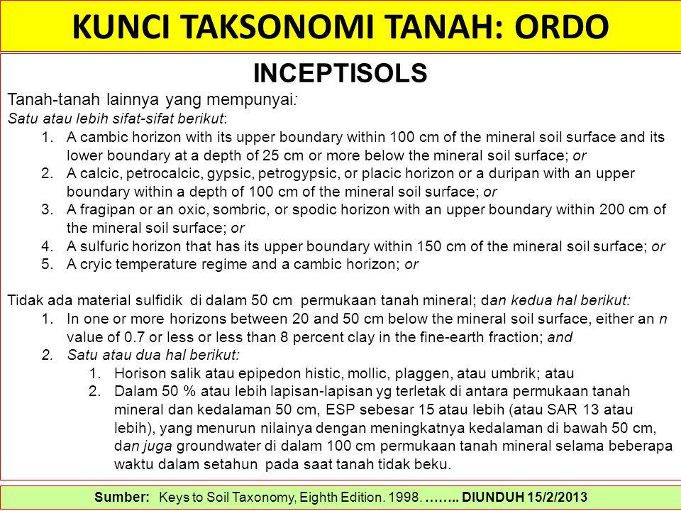 KUNCI TAKSONOMI TANAH: ORDO Sumber: Keys to Soil Taxonomy, Eighth Edition. 1998. …….. DIUNDUH 15/2/2013 INCEPTISOLS Tanah-tanah lainnya yang mempunyai