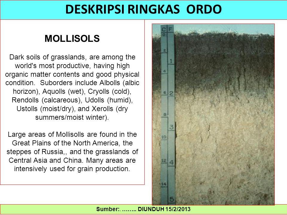Sumber:. …….. DIUNDUH 15/2/2013 DESKRIPSI RINGKAS ORDO MOLLISOLS Dark soils of grasslands, are among the world's most productive, having high organic