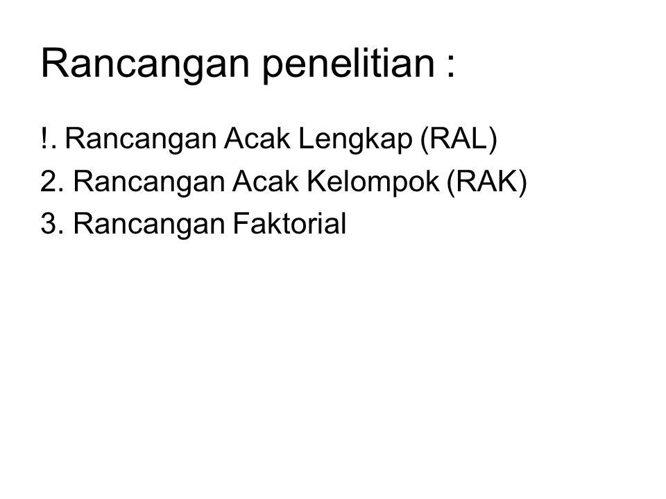 Rancangan penelitian : !. Rancangan Acak Lengkap (RAL) 2. Rancangan Acak Kelompok (RAK) 3. Rancangan Faktorial