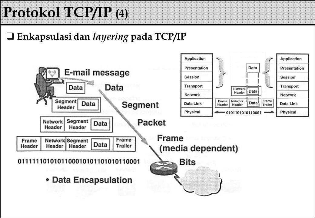  Enkapsulasi dan layering pada TCP/IP Protokol TCP/IP (4)