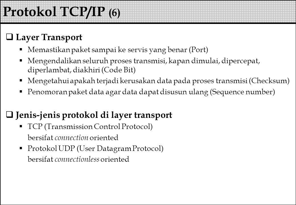  Layer Transport  Memastikan paket sampai ke servis yang benar (Port)  Mengendalikan seluruh proses transmisi, kapan dimulai, dipercepat, diperlamb