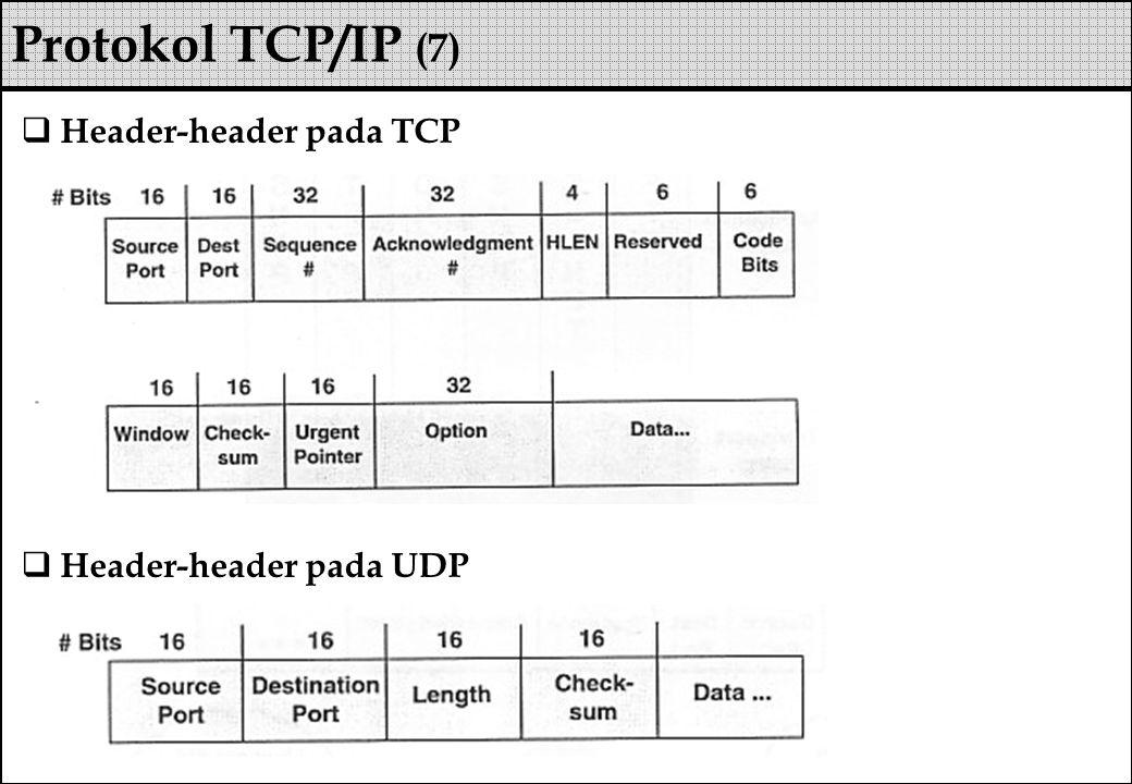  Header-header pada TCP  Header-header pada UDP Protokol TCP/IP (7)