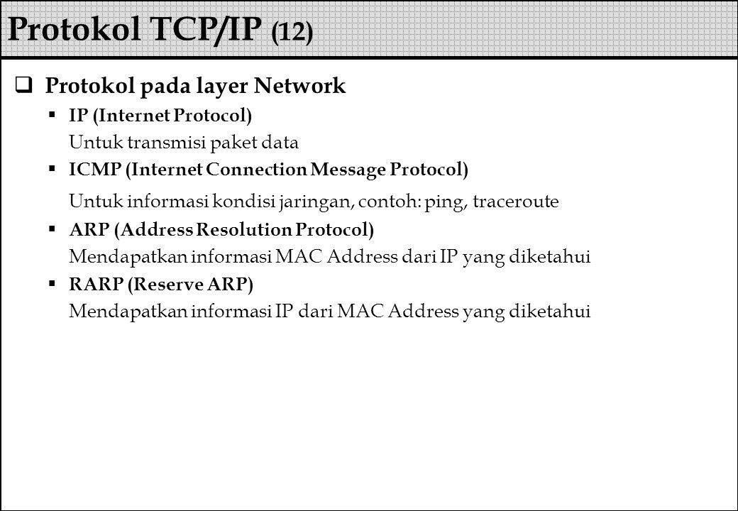  Protokol pada layer Network  IP (Internet Protocol) Untuk transmisi paket data  ICMP (Internet Connection Message Protocol) Untuk informasi kondis