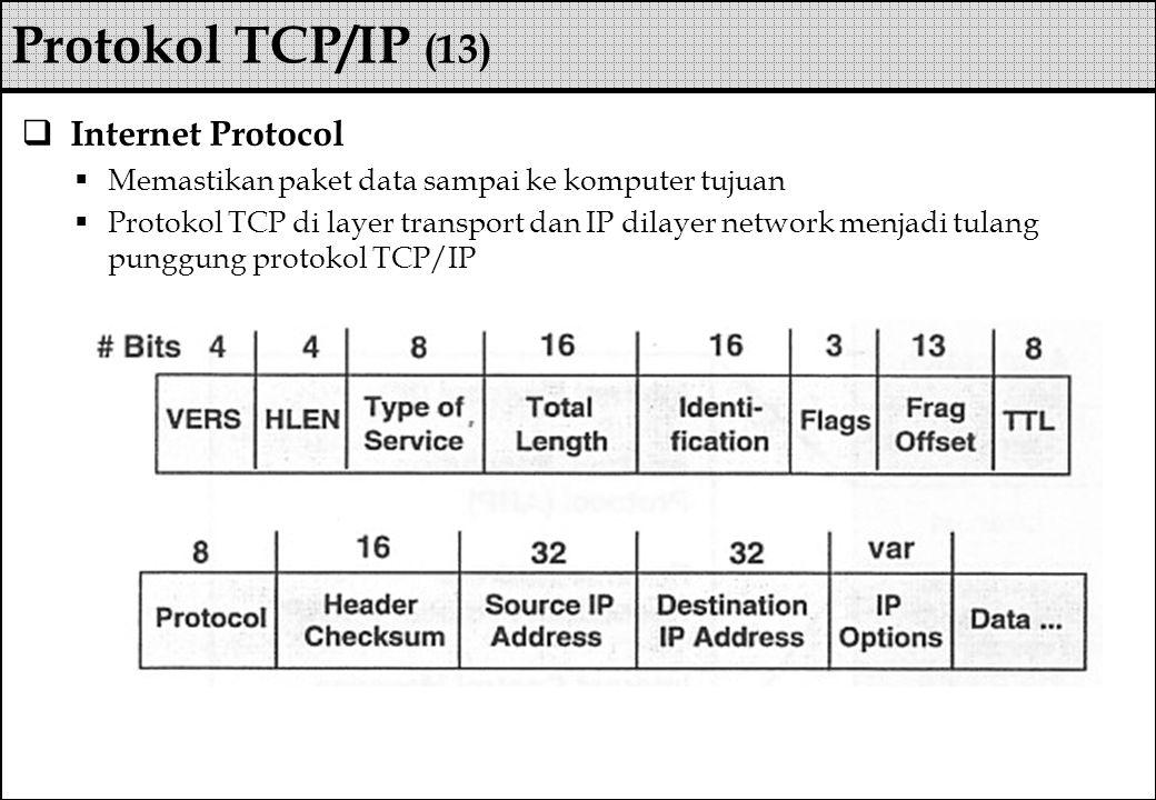  Internet Protocol  Memastikan paket data sampai ke komputer tujuan  Protokol TCP di layer transport dan IP dilayer network menjadi tulang punggung