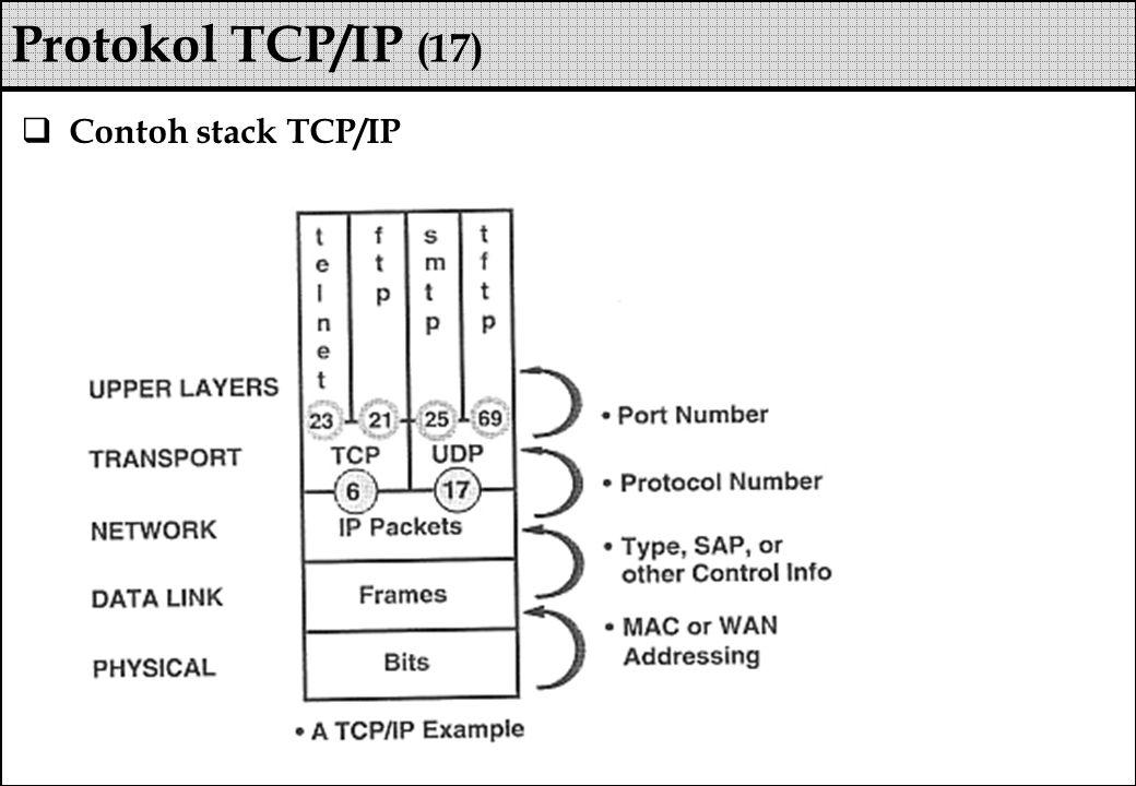  Contoh stack TCP/IP Protokol TCP/IP (17)