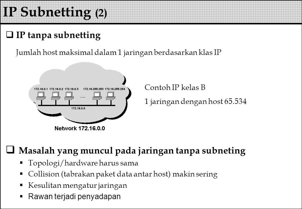  IP tanpa subnetting Jumlah host maksimal dalam 1 jaringan berdasarkan klas IP  Masalah yang muncul pada jaringan tanpa subneting  Topologi/hardwar