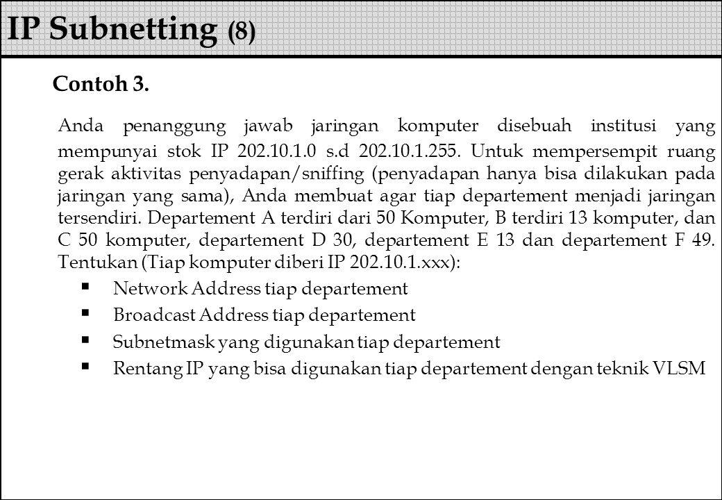 Contoh 3. Anda penanggung jawab jaringan komputer disebuah institusi yang mempunyai stok IP 202.10.1.0 s.d 202.10.1.255. Untuk mempersempit ruang gera